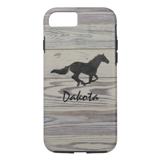 Rustic Wood Galloping Horse Watercolor Silhouette iPhone 7 Case