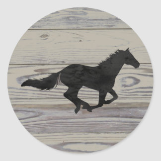 Rustic Wood Galloping Horse Watercolor Silhouette Round Sticker