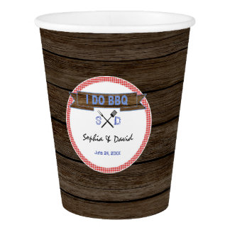 Rustic Wood Gingham I DO BBQ Couples Shower Paper Cup