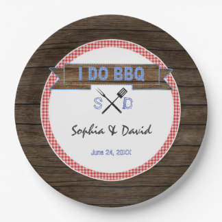 Rustic Wood Gingham I DO BBQ Couples Shower Paper Plate