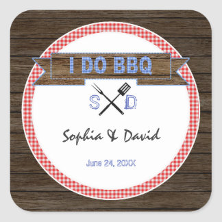 Rustic Wood Gingham I DO BBQ Couples Shower Square Sticker