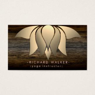 Rustic Wood Gold Lotus Flower Yoga Meditation Business Card