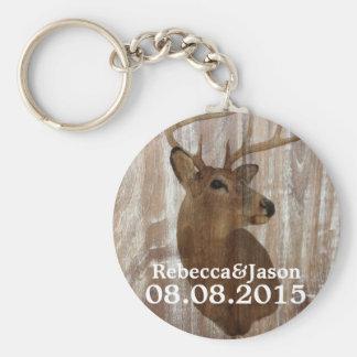 rustic wood grain deer the hunt is over wedding key chain