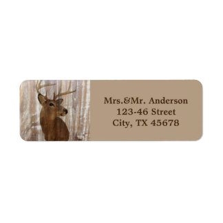 rustic wood grain deer the hunt is over wedding return address label