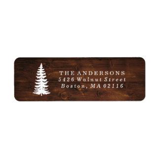 Rustic Wood Grain | Holiday Return Address Label