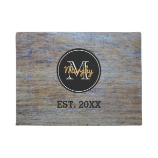 Rustic Wood Grain | Monogrammed Family Name Year Doormat
