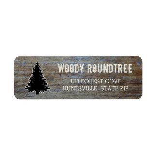 Rustic Wood Grain | Pine Tree Evergreen Silhouette Return Address Label