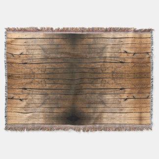 Rustic wood grain throw blanket