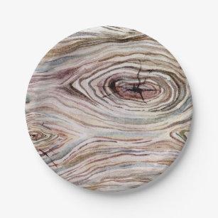 Rustic Wood Grain Watercolor Country Wedding Party Paper Plate  sc 1 st  Zazzle & Wood Grain Plates | Zazzle.com.au