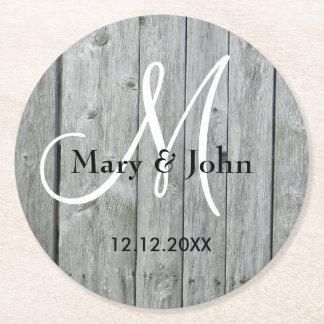 Rustic Wood Grey Wedding Monogram Round Paper Coaster