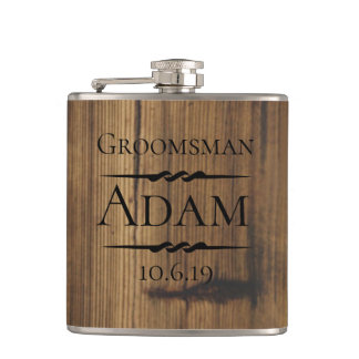 Rustic Wood Groomsman Personalized Hip Flask