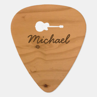 rustic wood Guitar Pick with name