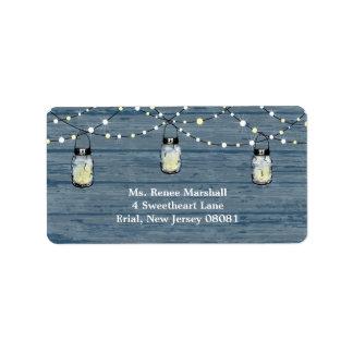 Rustic Wood Hanging Mason Jars and Lights Wedding Address Label