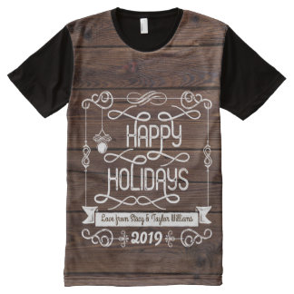 Rustic Wood Happy Holidays Christmas Typography All-Over Print T-Shirt