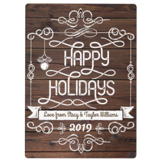 Rustic Wood Happy Holidays Christmas Typography Clipboard