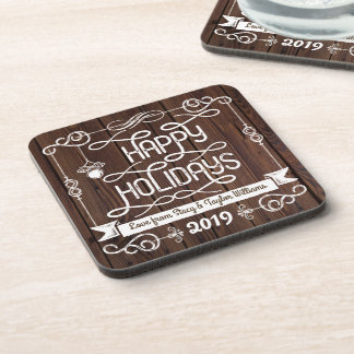 Rustic Wood Happy Holidays Christmas Typography Coaster