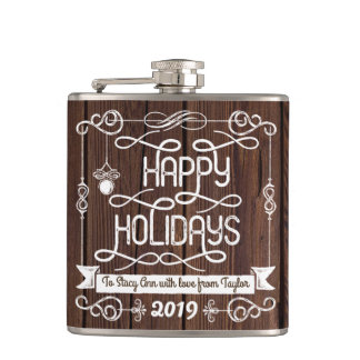 Rustic Wood Happy Holidays Christmas Typography Hip Flask