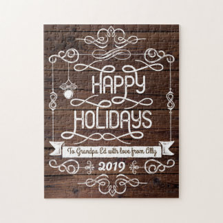 Rustic Wood Happy Holidays Christmas Typography Jigsaw Puzzle