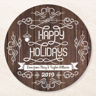 Rustic Wood Happy Holidays Christmas Typography Round Paper Coaster