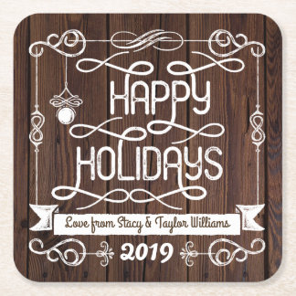 Rustic Wood Happy Holidays Christmas Typography Square Paper Coaster