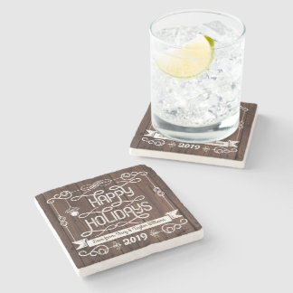 Rustic Wood Happy Holidays Christmas Typography Stone Coaster