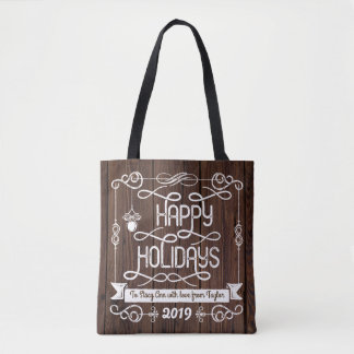 Rustic Wood Happy Holidays Christmas Typography Tote Bag