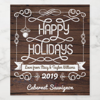 Rustic Wood Happy Holidays Christmas Typography Wine Label