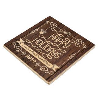 Rustic Wood Happy Holidays Christmas Typography Wood Coaster