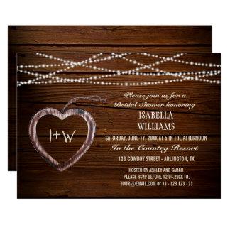 Rustic Wood Heart Bridal Shower Card