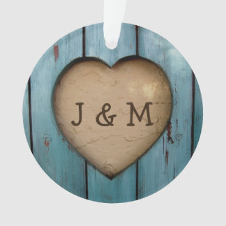 Rustic Wood Heart Custom Year Initial Favor
