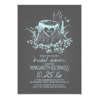 "Rustic wood heart tree bridal shower invite 5"" x 7"" invitation card"