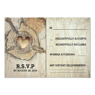 Rustic Wood Heart Tree Wedding RSVP Cards