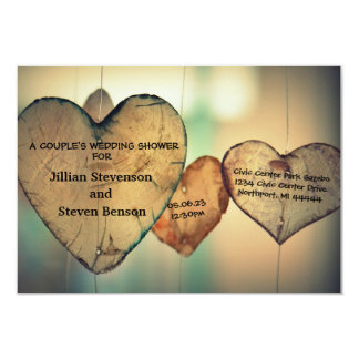 Rustic Wood Hearts - 3x5 Wedding Shower Invite