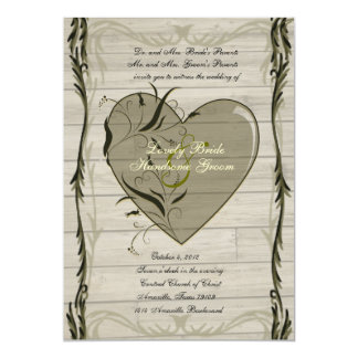 Rustic Wood Hearts and Vines Wedding Invitation