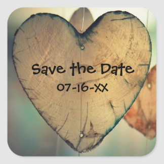 Rustic Wood Hearts Save the Date - Square Stickers