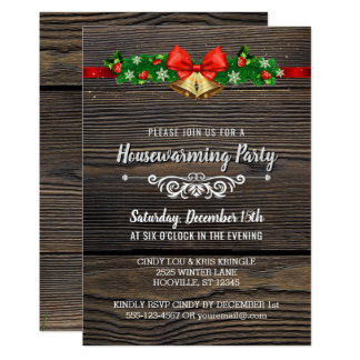 Rustic Wood Holiday Housewarming Party Invitation
