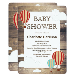 Rustic Wood Hot Air Balloons & Clouds Baby Shower Card