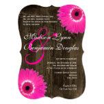 Rustic Wood Hot Pink Daisy Wedding Invitations