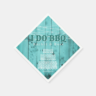 Rustic Wood I Do BBQ Couples Shower Wedding Cake Disposable Napkin