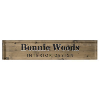 Rustic Wood Interior Designer Custom Office Name Plate