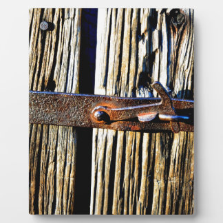 Rustic Wood & Iron Metal Latch Photo Plaque