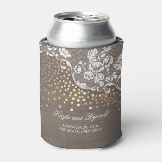Rustic Wood Lace and Gold Confetti Wedding Can Cooler