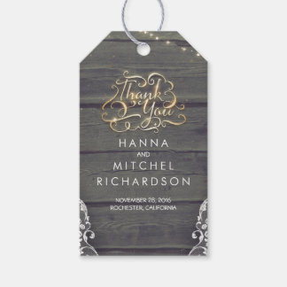 Rustic Wood Lace and String Lights Thank You Gift Tags