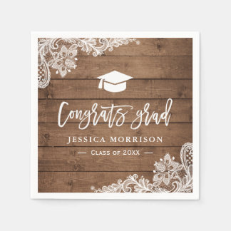 Rustic Wood Lace Congrats Grad Graduation Party Paper Serviettes