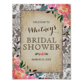 Rustic Wood Lace Floral Vintage Bridal Shower Poster