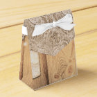 Rustic Wood Lace & Lighted Mason Jar Wedding Favour Box