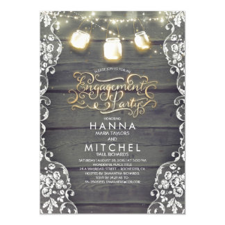 Rustic Wood Lace Mason Jar Lights Engagement Party Card