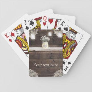 Rustic Wood, Lace & Mason Jars Barn Elegant Custom Playing Cards