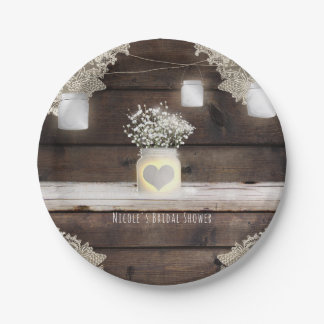 Rustic Wood, Lace & Mason Jars Barn Elegant Party Paper Plate