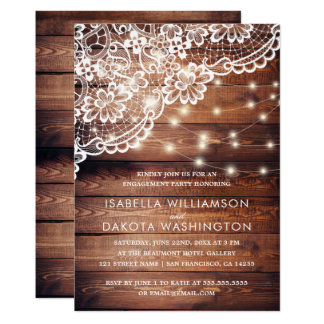 Rustic Wood Lace & String Lights Engagement Party Card